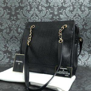 CHANEL Vintage Black Shoulder Bag w/ Gold Trim
